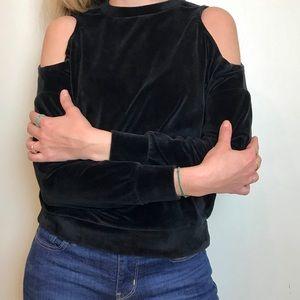 Black Velvet peep shoulders sweater by Revamped